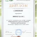 Диплом 1 степени за 1 место в смотре- конкурсе Информационная среда для родителей, номинация Официальные сайты ДОО