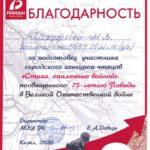 Благодарность Моружевой Марине Владимировне